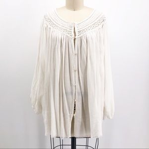 FP ONE FREE PEOPLE Button Front Lace Poet Blouse